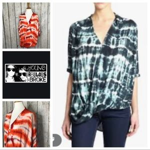 Young Fabulous & Broke tie dye draped shirt